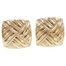 BIG 14k Gold Stud Earrings with Omega Backs
