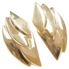 BIG & Long 14k Gold Stud Earrings with Omega Backs
