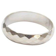 Gents Diamond Cut Band Ring 14k White Gold ~ Men's