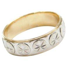 14k Gold Two-Tone Starburst Ring