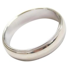 14k White Gold Milgrain Edge Wedding Band Ring