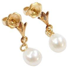 14k Gold Freshwater Pearl Drop Earrings