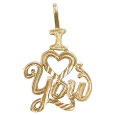 14k Gold I Love You Charm / Pendant ~ Heart