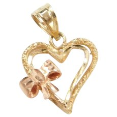 14k Gold Two-Tone Heart with Bow Charm / Pendant