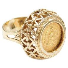 14k & 22k Gold Dos Pesos Mexican 1945 Coin Ring
