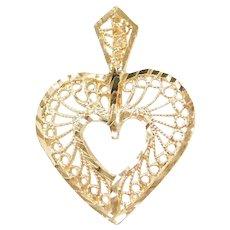 14k Gold Filigree Heart Pendant