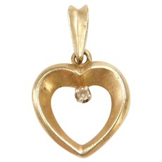 14k Gold Heart Pendant with Diamond Accent