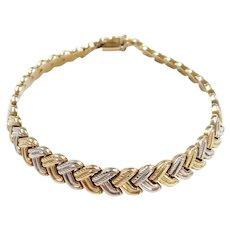 "8"" 14k Gold Two-Tone Chevron Design Bracelet"
