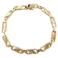 """7 1/8"""" 14k Gold Leaf Bracelet"""