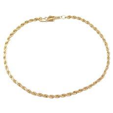 "7 1/2"" 14k Gold Diamond Cut Rope Bracelet"