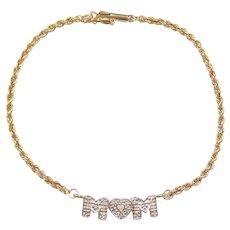 "7"" 14k Gold Diamond MOM Bracelet Two-Tone"