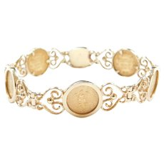 """7 3/8"""" 14k & 22k Gold 1945 Dos Pesos Mexican Coin Bracelet with Ornate Detail"""