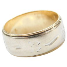 14k Gold Two-Tone Four Leaf Clover Band Ring