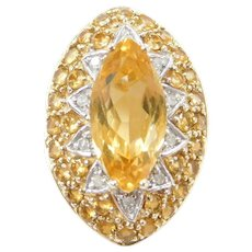 10k Gold Diamond and Citrine Slide Pendant ~ Two-Tone ~ Marquise
