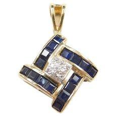 10k Gold Sapphire and Diamond Pendant ~ Two-Tone