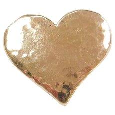 10k Gold Hammered Heart Slide Pendant