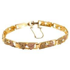 """10k Gold Black Hills Gold Leaf Bracelet ~ 7 1/2"""""""