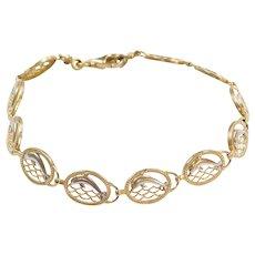 "7 1/2"" 10k Gold Two-Tone Dolphin Bracelet"