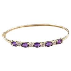 """7"""" 10k Gold Amethyst and Diamond Bangle Bracelet"""