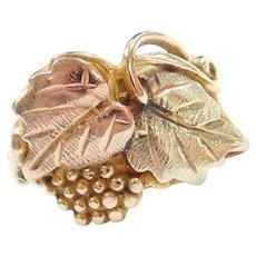 10k Gold Black Hills Gold Leaf Ring ~ Tri-Color