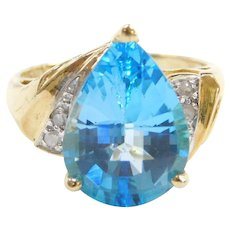 10k Gold Blue Topaz and Diamond Ring Two-Tone