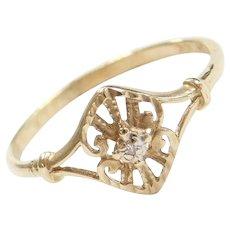 10k Gold Ornate Diamond Ring