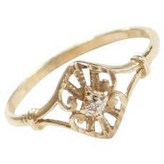 10k Gold Ornate Diamond Ring