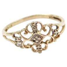 10k Gold Ornate Diamond Ring Two-Tone