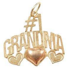 14k Gold #1 Grandma Charm / Pendant Two-Tone Rose Gold Heart Detail
