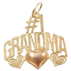 14k Gold #1 Grandma Charm / Pendant Two-Tone Rose Gold Heart Detail