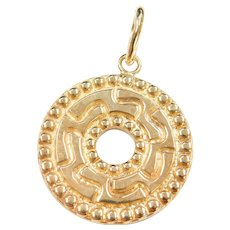 14k Gold Big Circle Disk Enhancer Pendant
