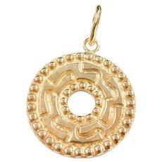 14k Gold Big Circle Disk Enhancer Pendant