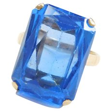 14k Gold Big Bright Blue Spinel Ring