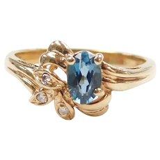 London Blue Topaz and Diamond .63 ctw Ring 10k Gold