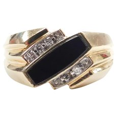 Gents Black Onyx and Diamond .08 ctw Ring 10k Gold Two-Tone ~ Men's