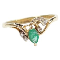 14k Gold .24 ctw Natural Emerald and Diamond Ring
