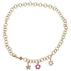 """Glitter Enamel Flower Charm Necklace 18k Yellow Gold 17.5"""" Rosato Designer"""