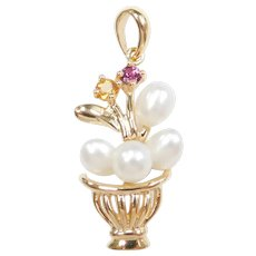 Cultured Pearl, Citrine and Pink Tourmaline .15 ctw Flower Basket Pendant 14k Gold