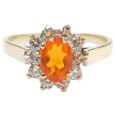 Imitation Fire Opal and Faux Diamond .78 ctw Halo Ring 14k Gold Two-Tone