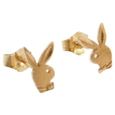 Vintage 14k Gold Playboy Bunny Stud Earrings