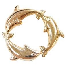 Vintage 14k Gold Tri-Color Dolphin Circle Pendant