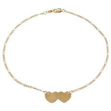 """Vintage 14k Gold Heart Anklet ~ 9 1/2"""""""