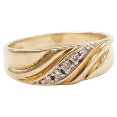 Vintage 14k Gold Men's Diamond Wedding Ring