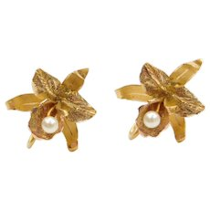 18k Gold Cultured Pearl Flower Earrings ~ Screw On