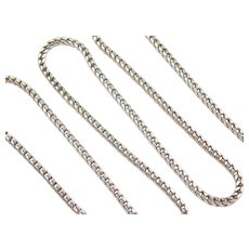 "24"" Long 14k White Gold Square Curb Link Chain ~ 33.7 Grams"