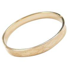 """7"""" 14k Gold Etched Floral Hinged Bangle Bracelet"""