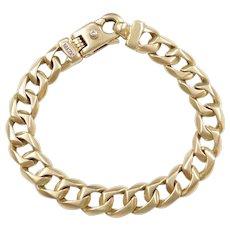 "7 3/4"" 36.0 Grams Men's Curd Link Bracelet with Diamond Accent"