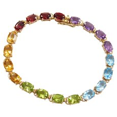 "7"" 14k Gold Colorful Gemstone Bracelet ~ Amethyst, Blue Topaz, Peridot, Citrine"