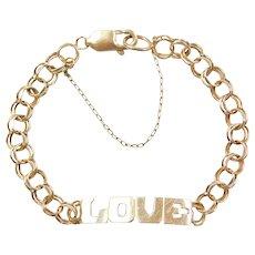 """7 3/4"""" 14k Gold LOVE Bracelet"""