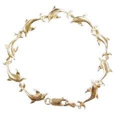 """7 1/4"""" 14k Gold Dolphin Bracelet"""